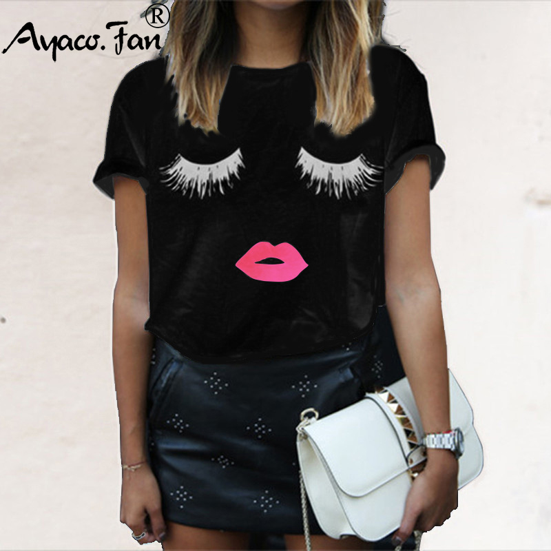 Plus Size 5XL Cute Eye Lashes Red Lip Print Women T-Shirts Summer Milk Silk O-Neck Short Sleeve T-Shirt Ladies White Black Tops