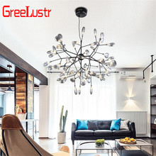 Nordic Loft Zweig Baum Design LED Kronleuchter Beleuchtung lampe Moderne Glas Blatt Anhänger Lampe Decke Leuchte Lustre Beleuchtung