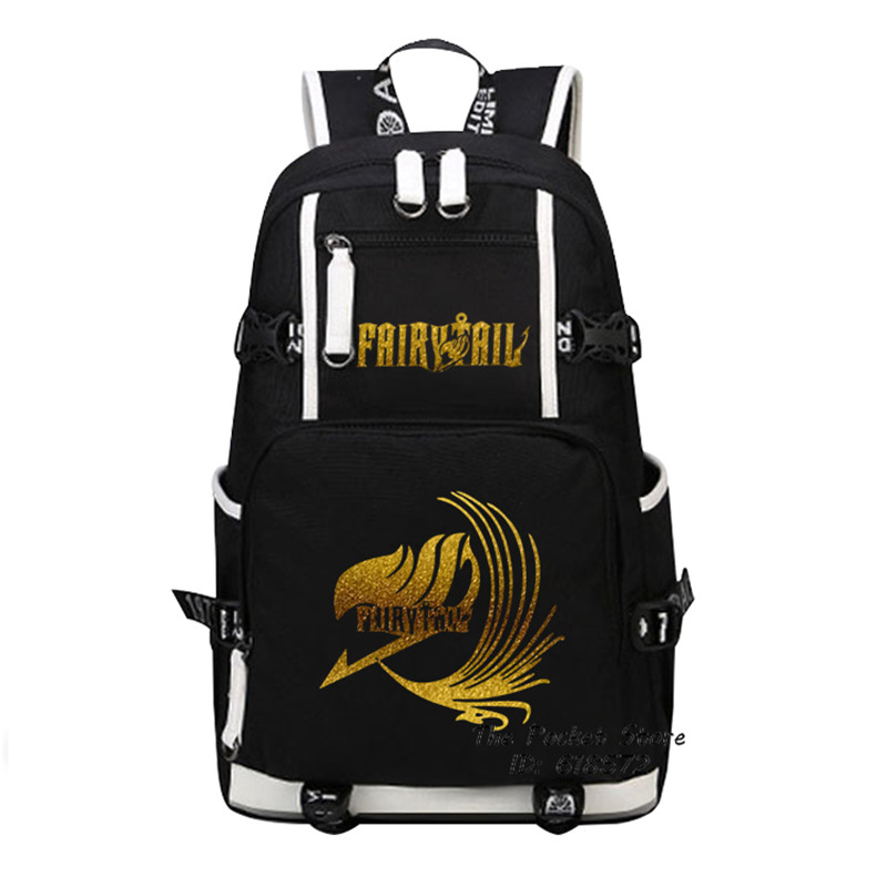 High Quality Anime FAIRY TAIL Natsu Gold Printing Backpack School Backpacks for Teenage Girls Canvas Bags Cartoon Women Bags anime noragami aragoto yato backpack for teenage girls boys cartoon yukine children school bags casul book bag travel backpacks