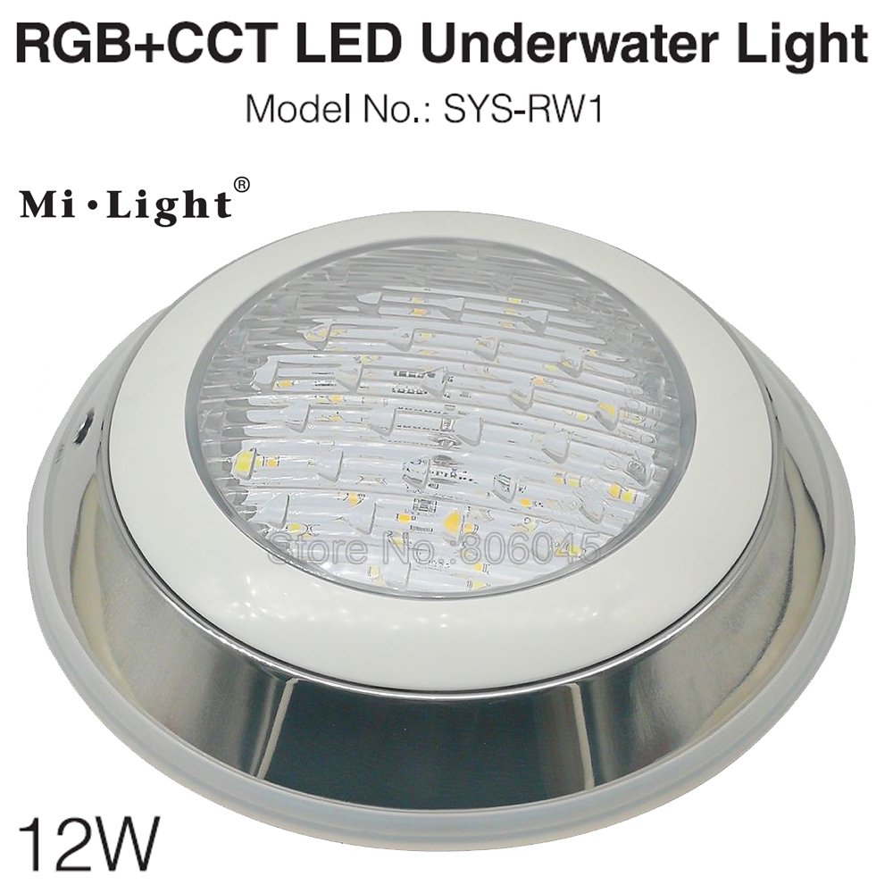 Milight SYS-RW1 DC24V  12W RGB+CCT Underwater LED Light Swimming Pool Lamp IP68 2.4G Remote / DMX512 / WiFi APP Alexa Control