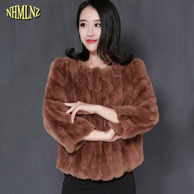 Hiver Femmes Veste De Mode Imitation Rex De fourrure de Lapin manteau Court  Grande taille Solide c54ffc91152