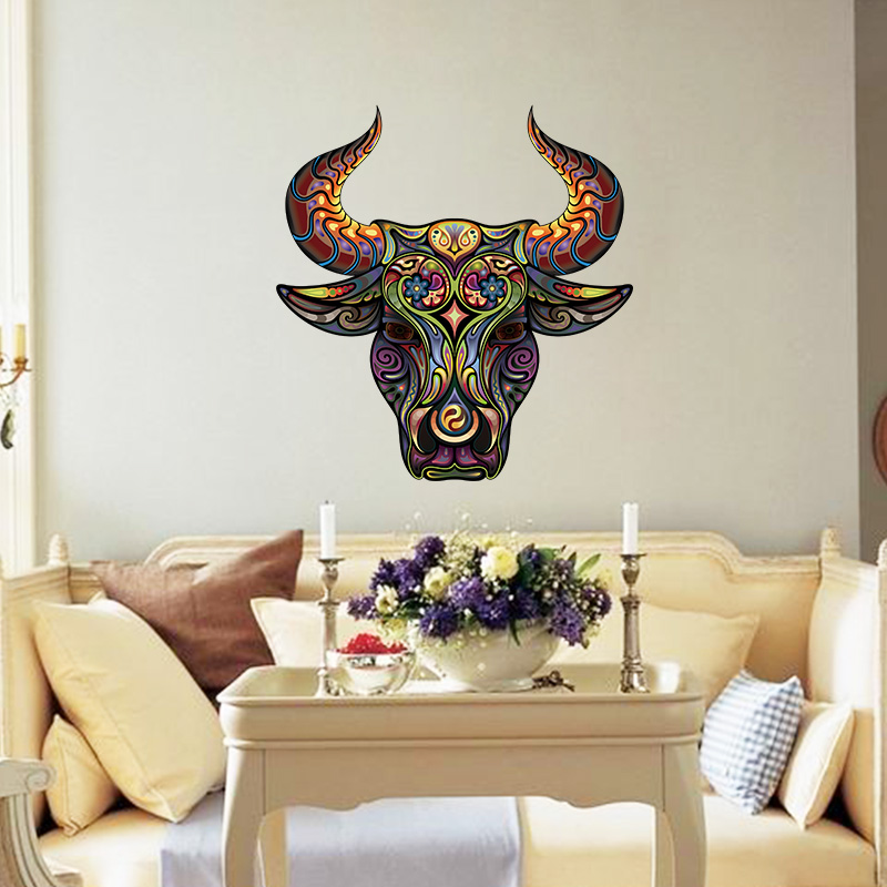 new abstract design decorative wall decal colorful flower pattern bull sitting room kids roomsliving room wall