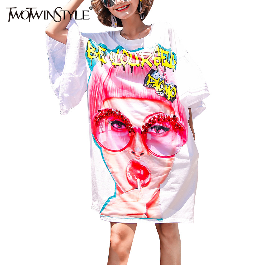 TWOTWINSTYLE 2017 Character Print Summer Dress for Women Knee Long Tunic Female T-shirt Dresses White Casual Clothes Korean