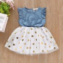 Платье для маленьких девочек, платья без рукавов в горошек для новорожденных, одежда для маленьких девочек, джинсовое платье принцессы с ба...