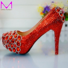 Red Custom Make plus size high heel crystals and rhinestones bridal wedding Pumps shoes Diamond Lady Shoes Party Prom High Heels