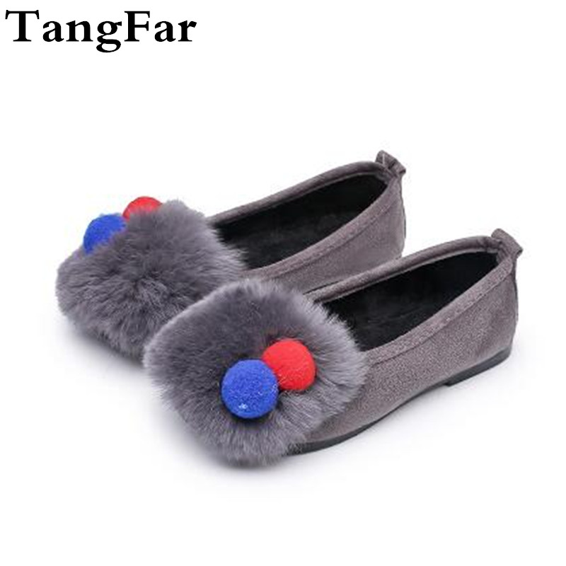 New Hot Item Childrens Moccasins Girl Rabbit Fur Princess Shoes Suede Flat Heel Sneakers Loafers Hairball Lovely Shoe ...