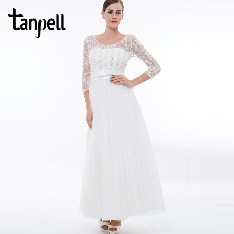 Tanpell long   prom     dress   white scoop 3/4 length sleeves floor length a line   dresses   beaded ribbons back lace up formal   prom   gown