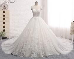 Vestido De Noiva длинные Свадебные платья 2018 Совок Кепки рукавом бальное платье Часовня Поезд из бисера Кружево тюль невесты Платья для женщин