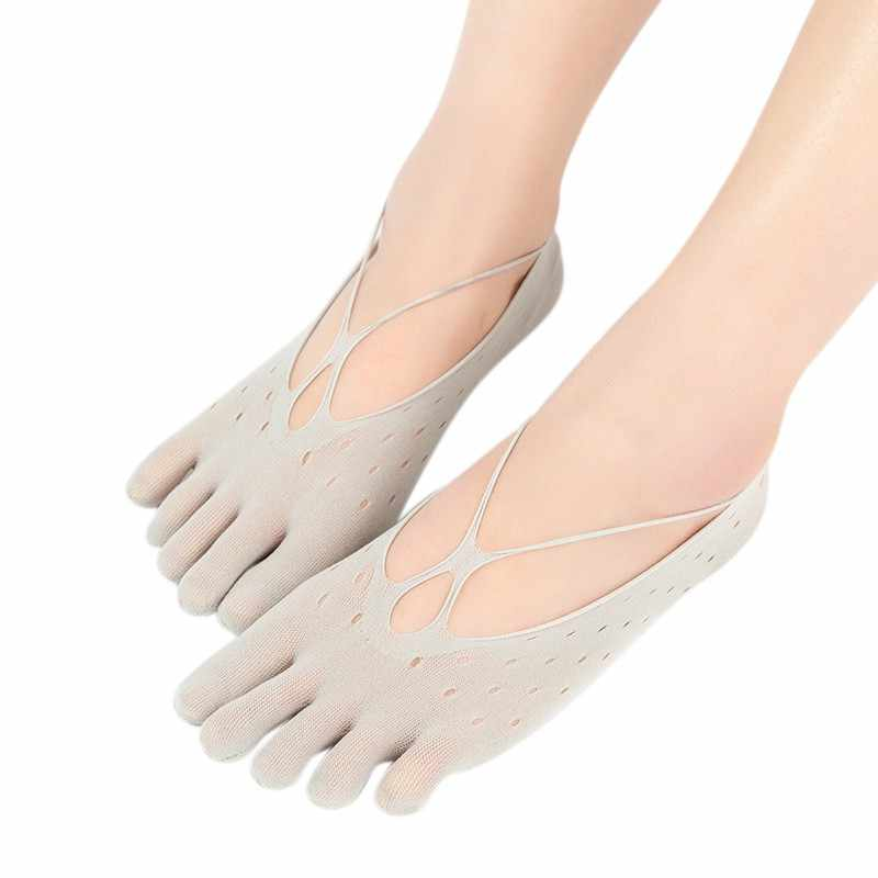 Beş parmak Çorap Kadın Terlik Kadife Yaz Örgü Nefes Görünmez Sığ Silikon Tekne Çorap Çapraz delik Tarzı