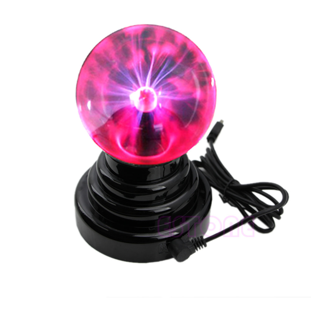 F85  Hot Sale New USB Magic Black Base Glass Plasma Ball Sphere Lightning Party Lamp Light ac powered plasma ball red light lightning sphere 220v eu plug