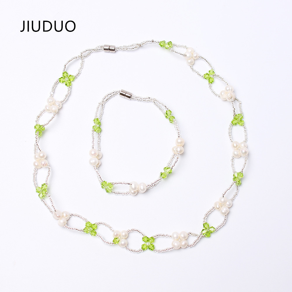 JIUDUO New Natural Freshwater Pearl Jewlery Necklace Sets for Women Party Fashion Green jewelry set for Girls Parure Gift JS08