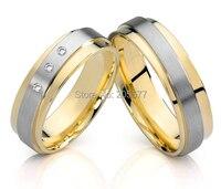 Mode Two Tone stil CZ diamanten Handgefertigte titan hochzeit schmuck paare verlobungsringe sets