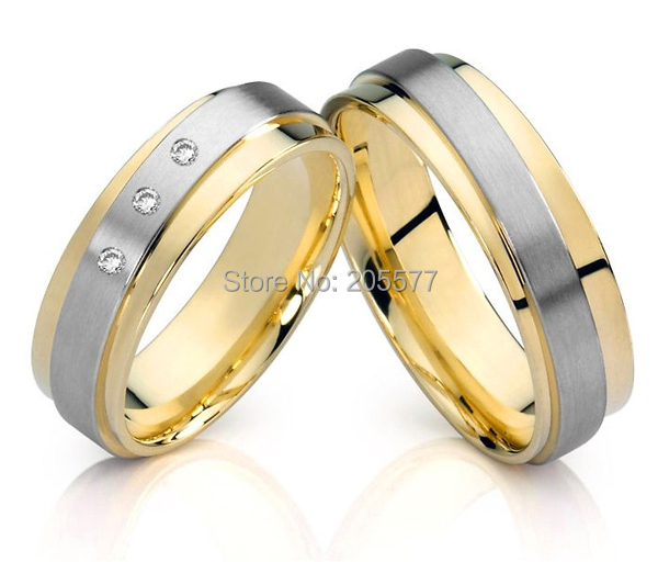 fashion Two Tone style CZ diamonds Handmade titanium wedding jewelry couples engagement rings sets spanish two tone double potentiometer 10k 50k