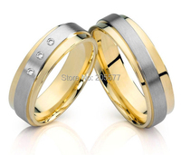 fashion Two Tone style CZ diamonds Handmade titanium wedding jewelry couples engagement rings sets