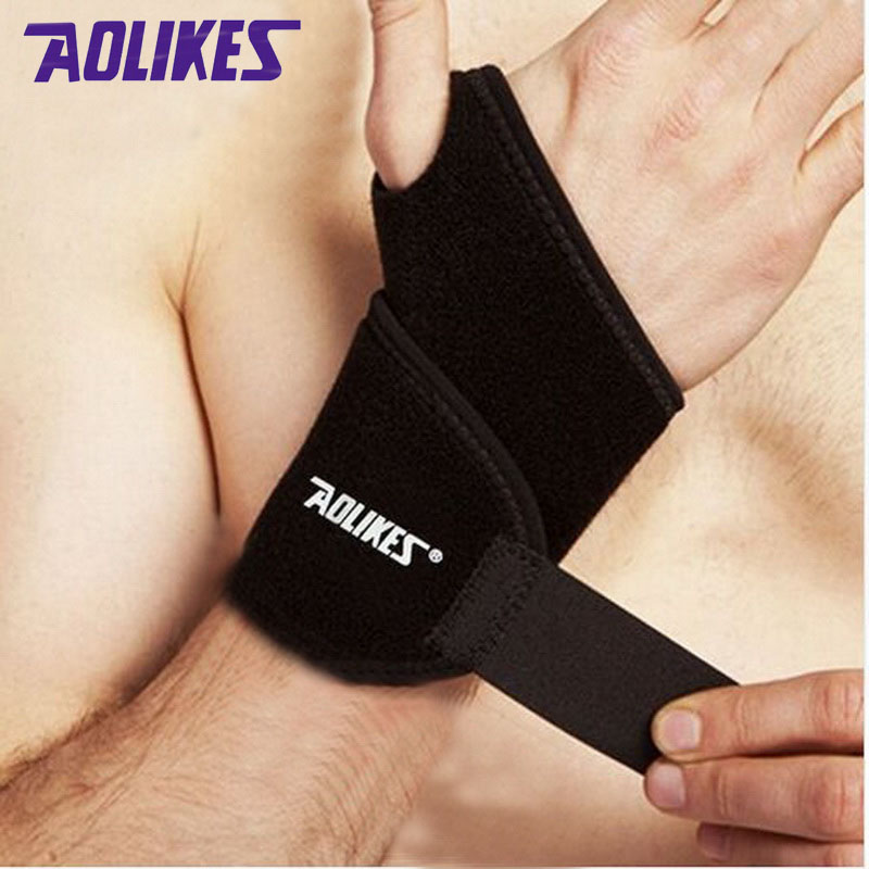 2 pcs/lot AOLIKES gym wrist bands sports wristband wrist support straps wraps for weight lifting munhequeira protector