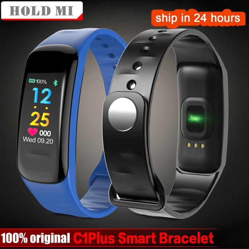 Espera Mi Rastreador de Fitness C1Plus pantalla a Color pulsera inteligente presión arterial Monitor de frecuencia cardíaca banda inteligente deporte para Android IOS