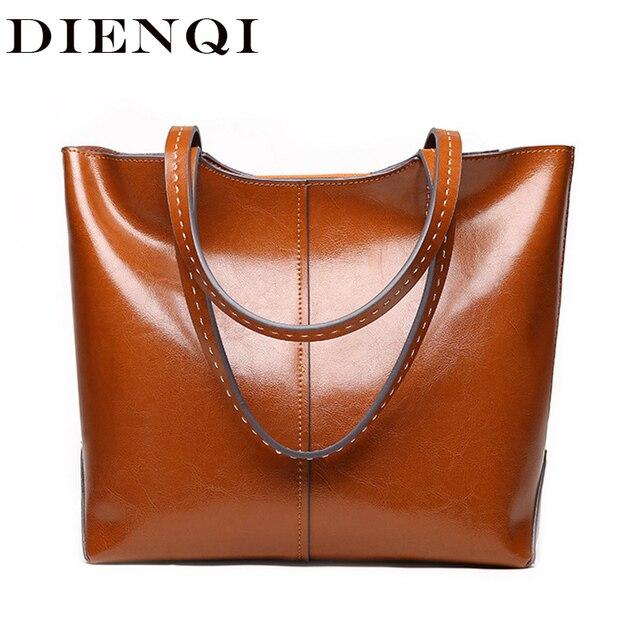 fdd3798bfb1c DIENQI 2018 New Female Genuine Leather Shoulder Bags Luxury Women Leather  Handbags Ladies Big Designer Brown Top-handle Bag Tote