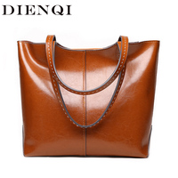 DIENQI 2018 New Female Genuine Leather Shoulder Bags Luxury Women Leather Handbags Laides Big Designer Brown Top handle Bags