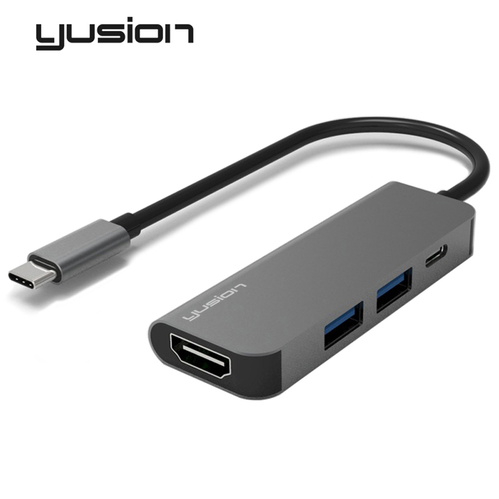Yusion Type-C USB-C 3.1 to HDMI Adapter HD 4K 1080P with Dual USB3.0 PD Charging Converters For Macbook Pro Chromebook Laptop ...