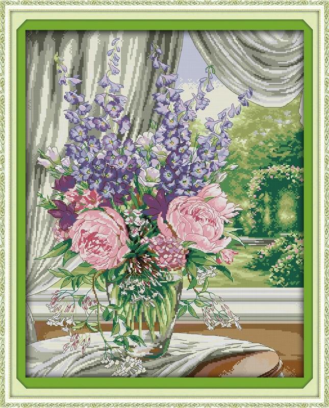 df0fdd8c41e Florero de ventana (2) flores DMC Cruz puntada kits 14ct blanco 11ct  impresión en lienzo bordado conjunto coser hecho a mano artesanías  decoración del hogar