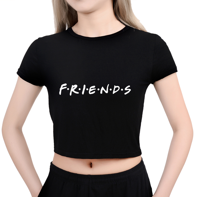 c75b9f74f03 2018 Fashion Crop Top Women Friends Tv Show Letter Printed Funny Summer Tops  Sexy Short Sleeve. Mouse over to ...