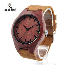 BOBO BIRD L15 Red Sandalwood Wooden Watch Ladies Japanese 2035 Quartz Movement Watch with Real Leather Strap for Men in Gift Box