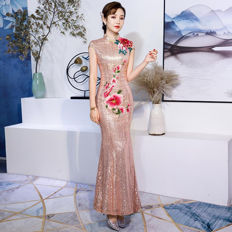Женское платье подружки невесты винтажное с цветочной вышивкой блестками и