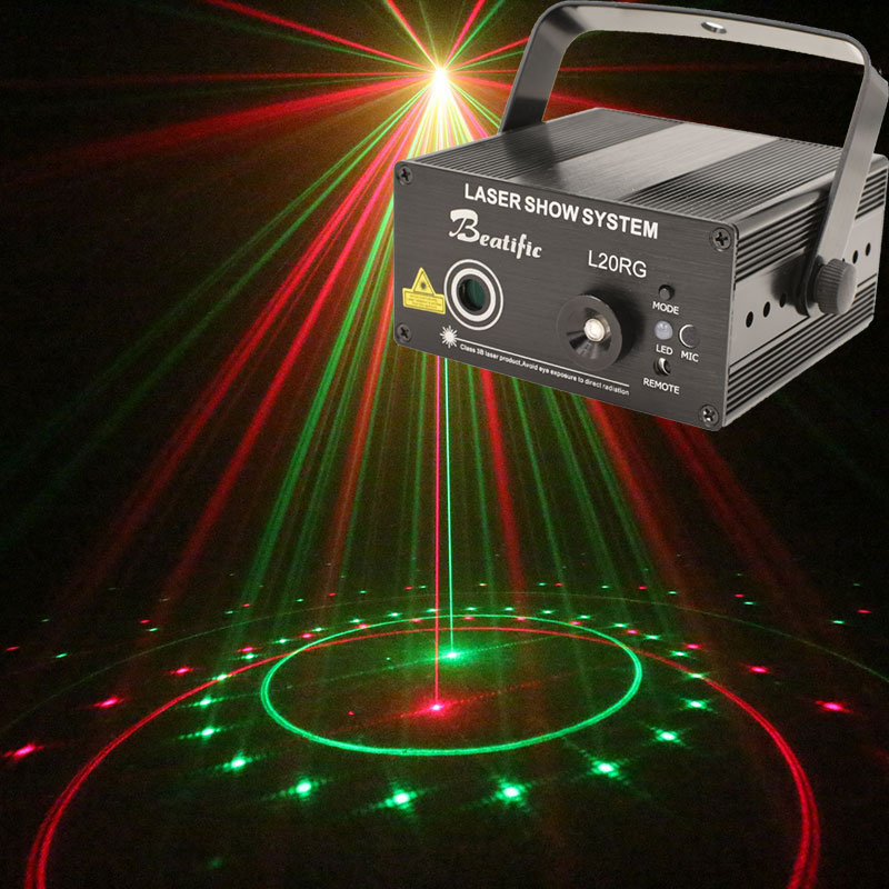 20 Patterns Mini Laser Projector Scanner Disco Party Decorations Light Remote Sound-active Laser Show System rg mini 3 lens 24 patterns led laser projector stage lighting effect 3w blue for dj disco party club laser