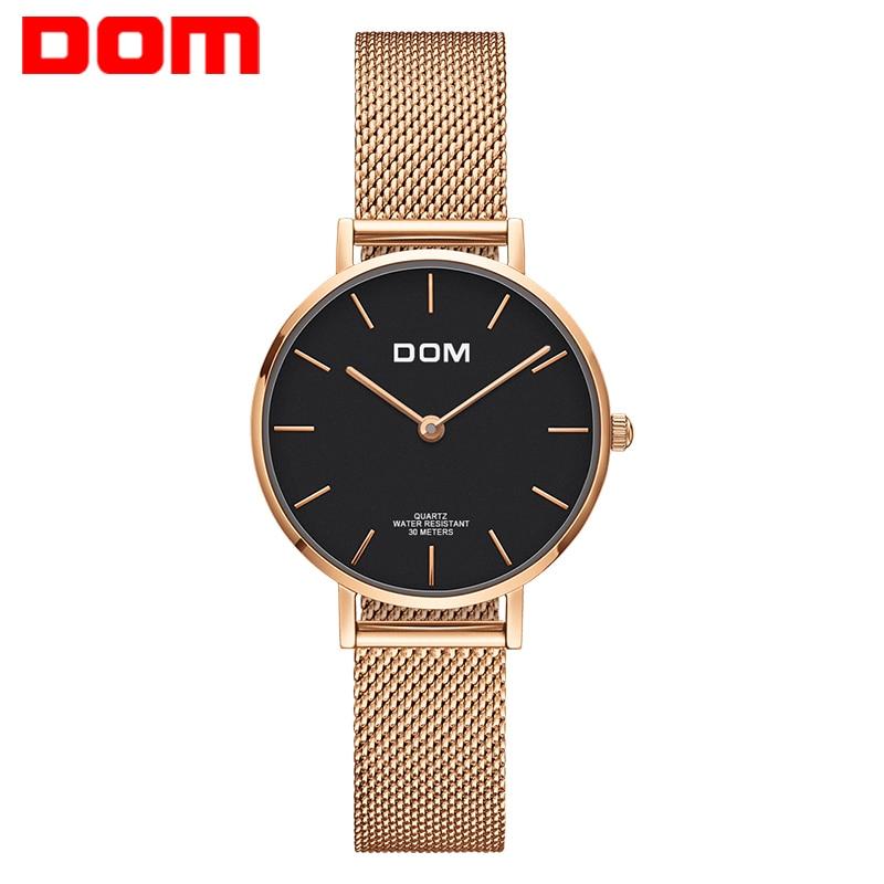 Montre Femmes DOM Top Marque De Luxe montre À Quartz Casual quartz-montre en cuir Maille sangle ultra mince horloge Relog G-36G-1M1