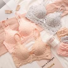 Wasteheart 2018 New Women Fashion Pink Gray Sexy Lingerie Wireless Bra Sets Lace Trim Cotton Panties Briefs Underwear
