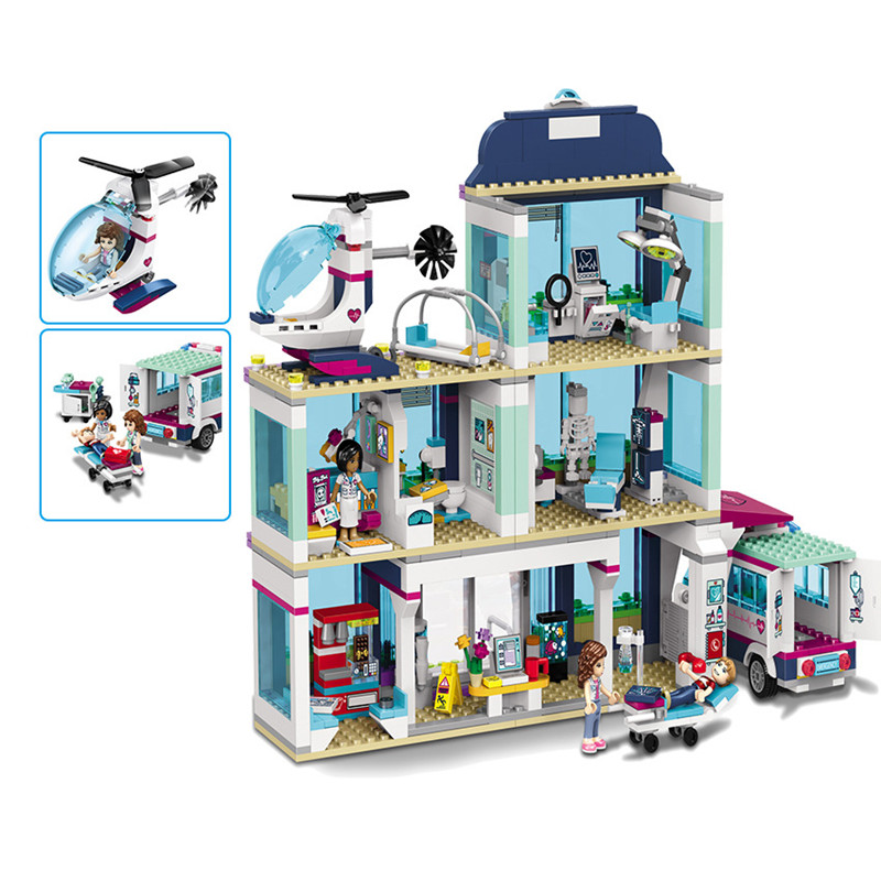 New 932pcs Friends Girl Series Legoings 41318 Model Building Blocks Toys Heartlake Hospital Kids Bricks Toy