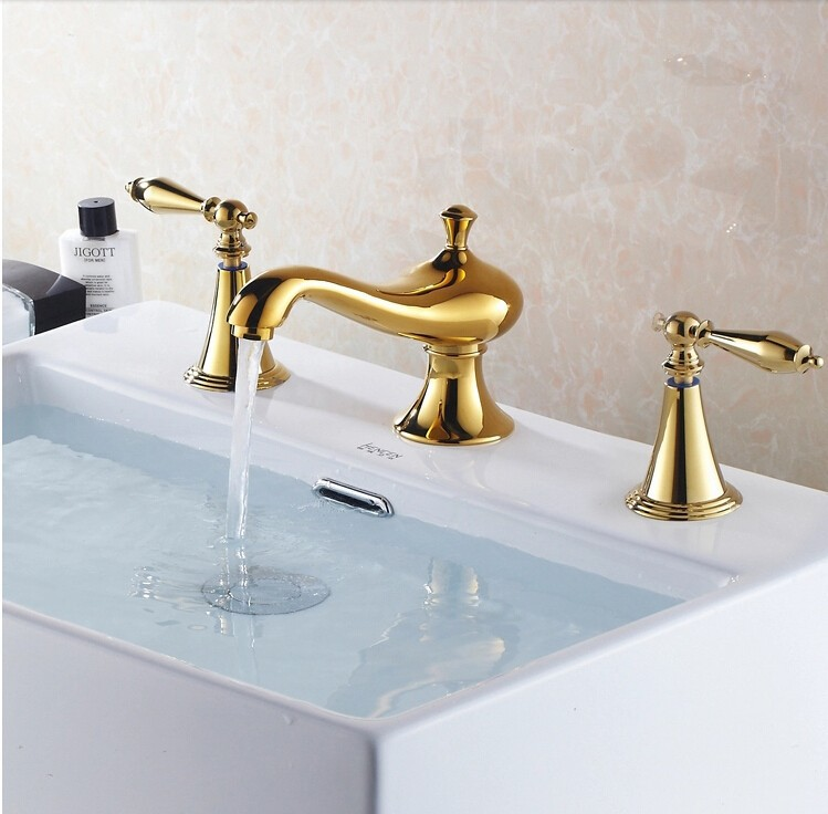 fashion high quality brass gold finish bathroom 8' widespread basin faucet sink faucet 3pcs sink faucet fashion high quality brass bathroom widespread basin faucet double handle gold plating sink faucet free shipping