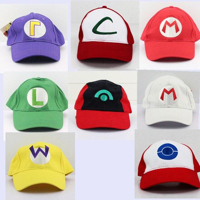 Cartoon Super Mario Bros Ash Ketchum Mario and Luigi Baseball Hat Plush Toys For Adult  with Adjuestable Belt