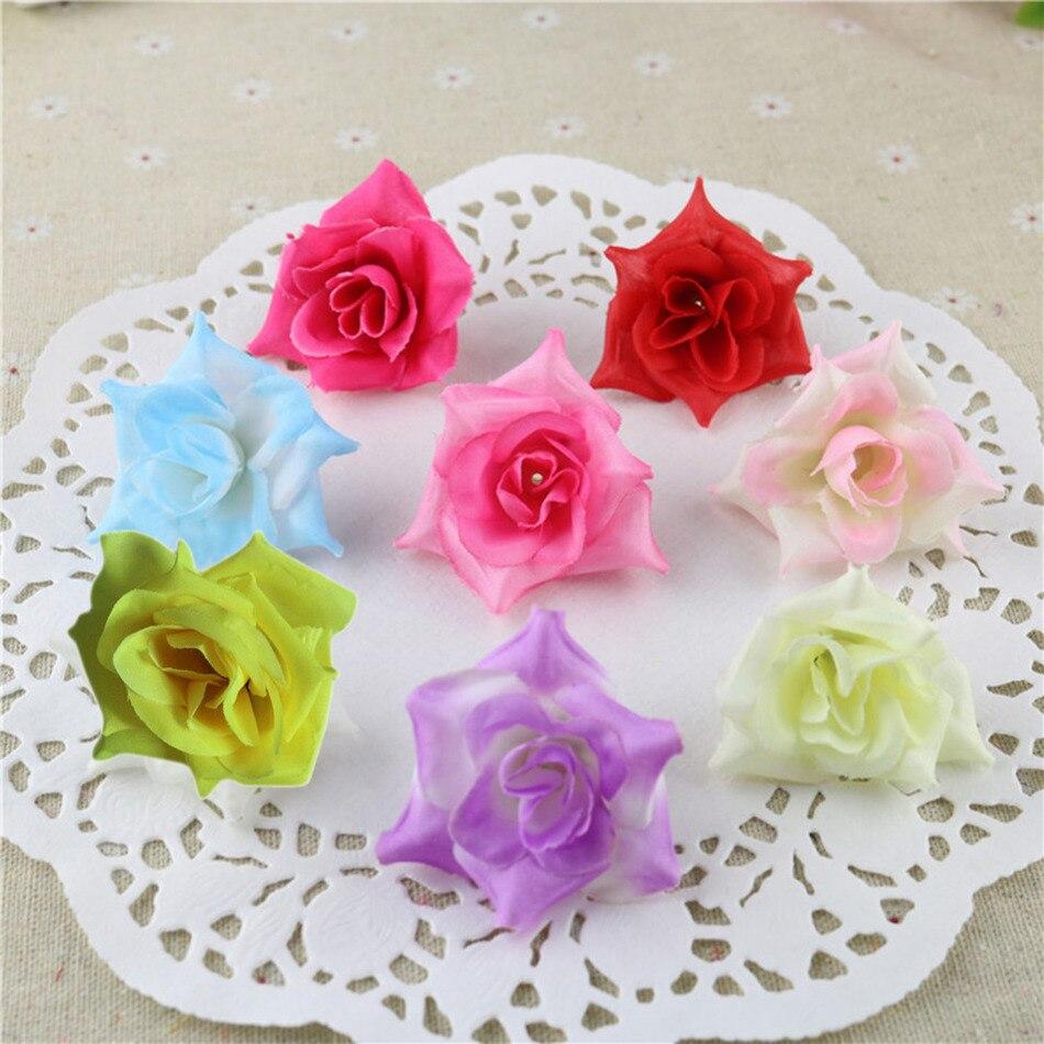 Home bulk roses peach roses - 50pcs Wedding Flowers Decoration Artificial Silk Fake Rose Heads Bulk Blossom For Party Home Wedding Decorative