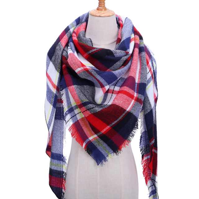 2018 new brand women scarf fashion plaid soft cashmere scarves shawl lady wraps designer Triangle warm Wholesale knitted bandana