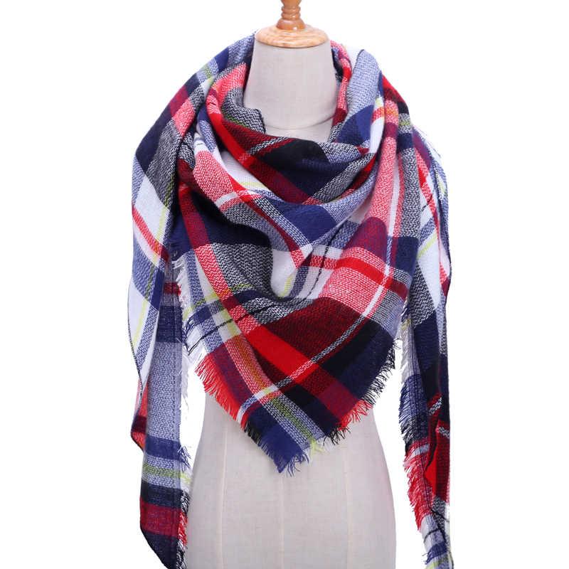 b06a052a5e2e 2019 nueva marca bufanda de mujer a la moda a cuadros bufandas de Cachemira  suave chal de señora envolver triángulo de diseñador caliente al por ...