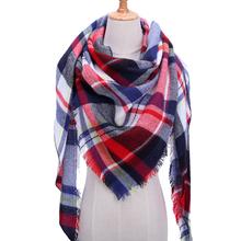 2018 new brand women scarf fashion plaid soft cashmere scarves shawl lady wraps designer Triangle warm Wholesale knitted bandana cheap Kiximire Cashmere Acrylic 175cm Adult 140*140*210cm