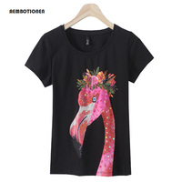 Women 2017 Summer Short Sleeve Sequined Beaded Red Crowned Crane Print T Shirts Fashion Slim WhiteTop