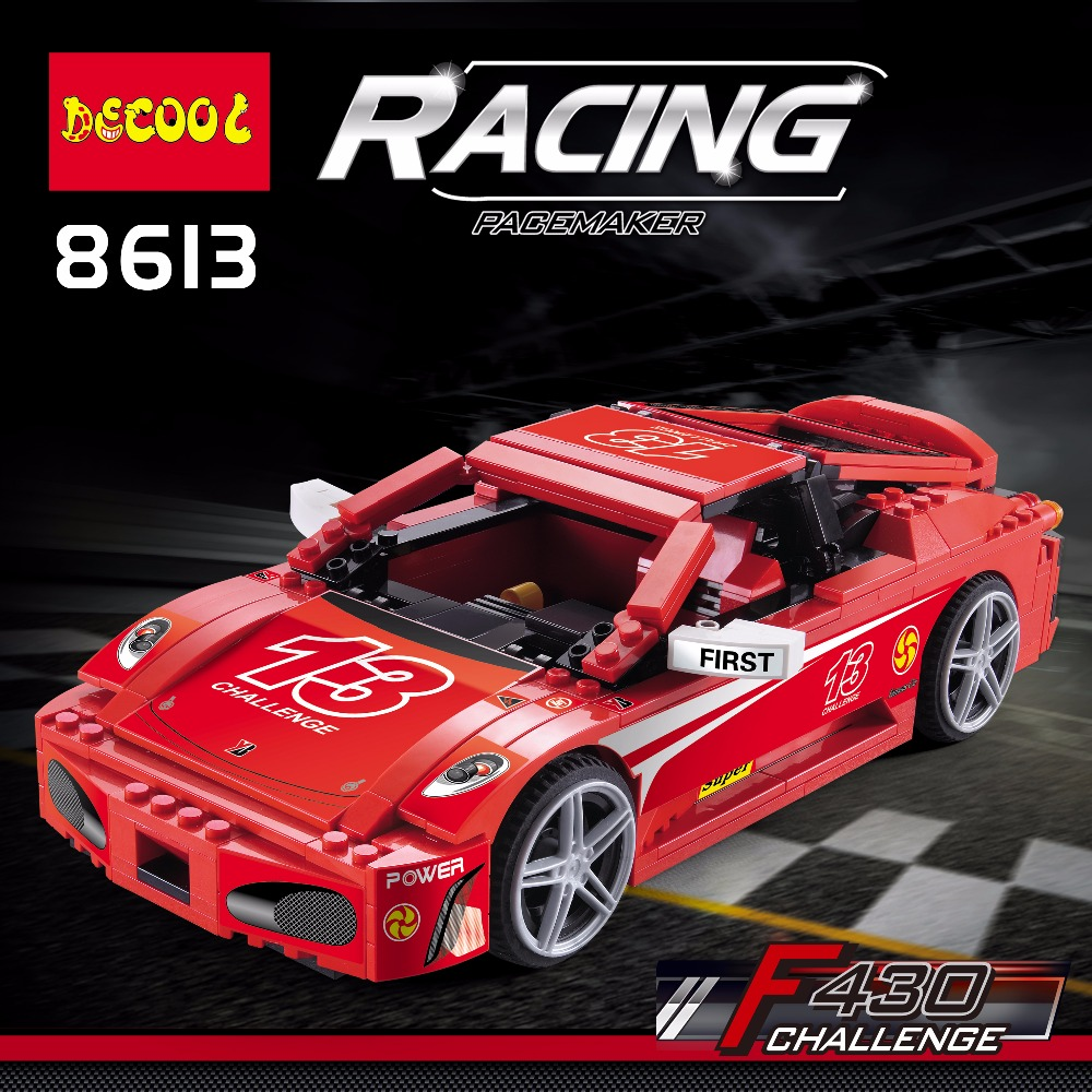 DECOOL 8613 Building Blocks Toys For Children Gift for Boy FIT LEGO LPS LEPIN Technic Race F430 sports car supercar 10248 lepin 02012 city deepwater exploration vessel 60095 building blocks policeman toys children compatible with lego gift kid sets