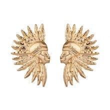 Fashion Punk Unique Head Design Bohemian Bib Statement Stud Earring for Women Girl Jewelry
