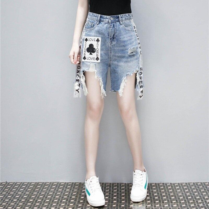 cf8fefff86 Denim Casual Mujer Nuevo Verano Borla Calle Jeans Shorts Personalidad  Impresión Straight 2018 Moda Loose Pantalones Azul wSqggx8vE