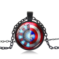 XUSHUI XJ Captain America Shield Pendant Necklace Iron Man Arc Reactor Art Glass Cabochon Superhero Jewelry Black Chain Necklace