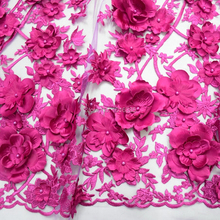 Fushia pink Wedding Dress Lace Fabric, 3D Chiffon Flowers Nail satin Bead High End European Fabric Free Shipping HY0609