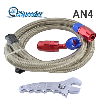 AN 4 Straight Hose End 45 Degree Swivel Fitting AN4 1Meter Oil Fuel Stainless Steel Braided Hose With AN Wrench Tool Spanner Kit fittings and braided hose
