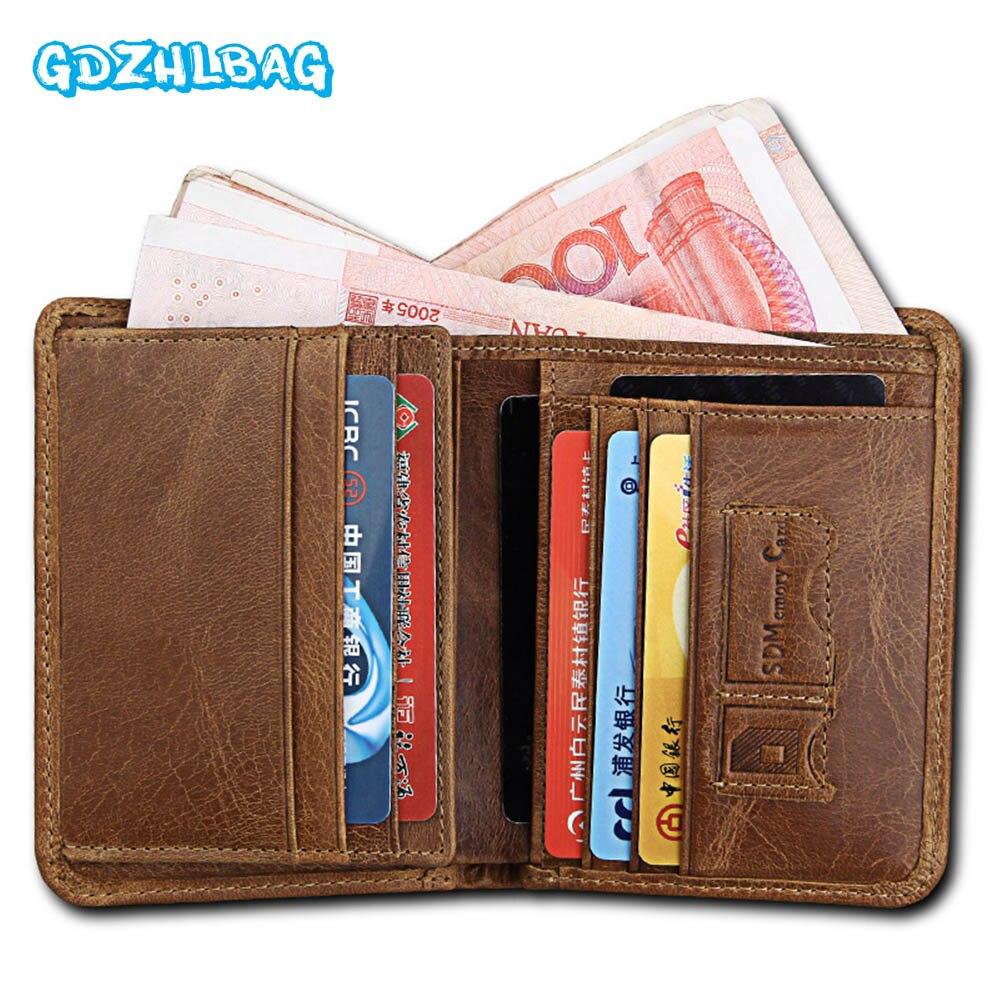 GDZHLBAG Wallet Men Coin Pocket Purse Mens Genuine Leather Walet Male Purse Small Portomonee Clamp For Money B180