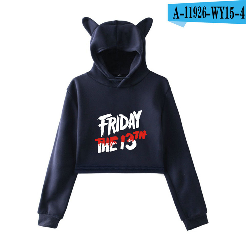 Friday The 13Th Cat Ear Crop Top Hoodie The Game Horror Mask Killer Puzzle Oversized Moletom Long Sleeve Women Hoodies Movie