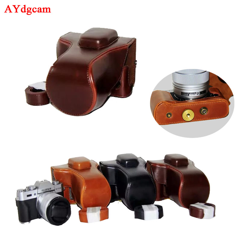 PU Leather Camera Case For FujiFilm Fuji XT20 XT-20 X10 XT10 16-50mm Lens Camera Bag Body Set With Strap Black Brown Coffee