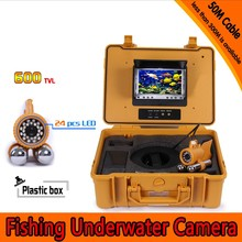 50Meters Depth Underwater Fishing Camera Kit with Dual Lead Bar & 7Inch Color TFT LCD Monitor & Yellow Hard Plastics Case