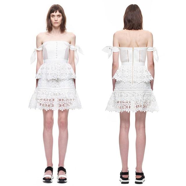 95b38e68674e White Lace Self Portrait Dress Brand For Love and Lemons Abito Senza  Spalline Crochet Summer Dress Mini Vestidos Skater Dress