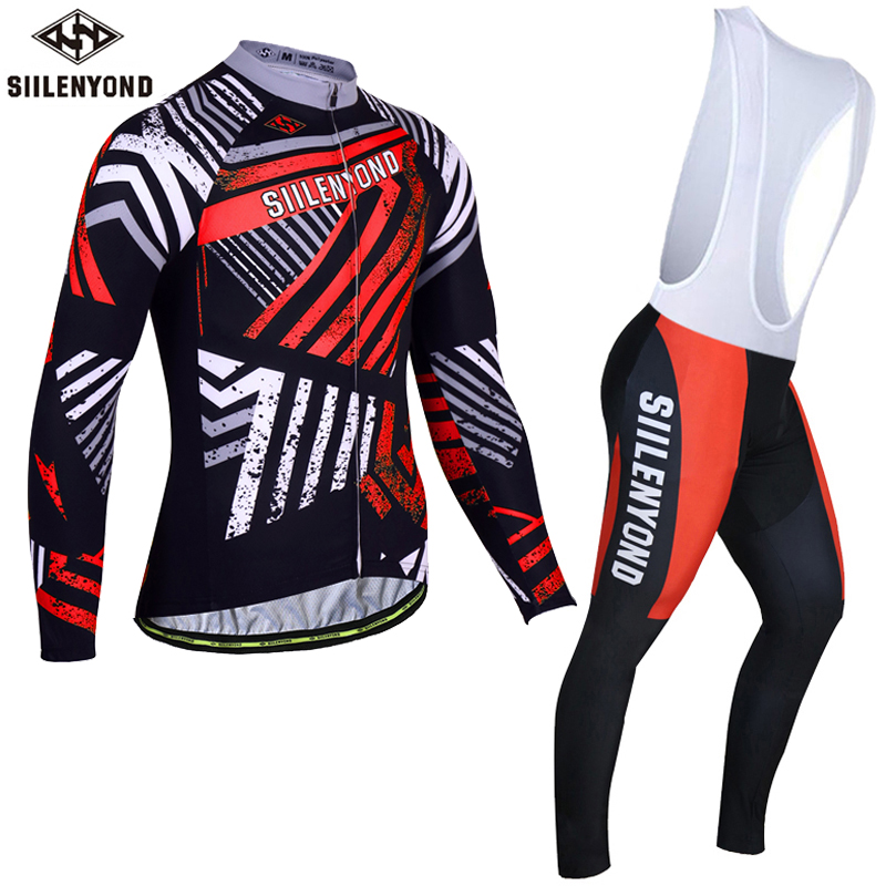 Siilenyond Winter Thermal Fleece Cycling Jersey Set Long Sleeve Bicycle Clothing Maillot Equipacion Ciclismo MTB Bike Clothes black thermal fleece cycling clothing winter fleece long adequate quality cycling jersey bicycle clothing cc5081